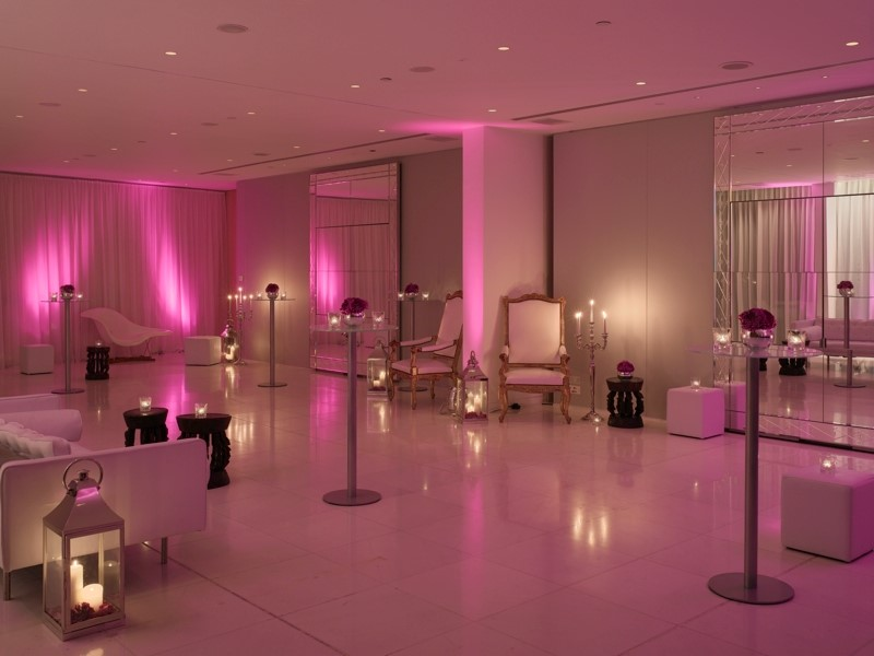 St Martins Lane Hotel Christmas Party WC2, pink up lighters in white studio