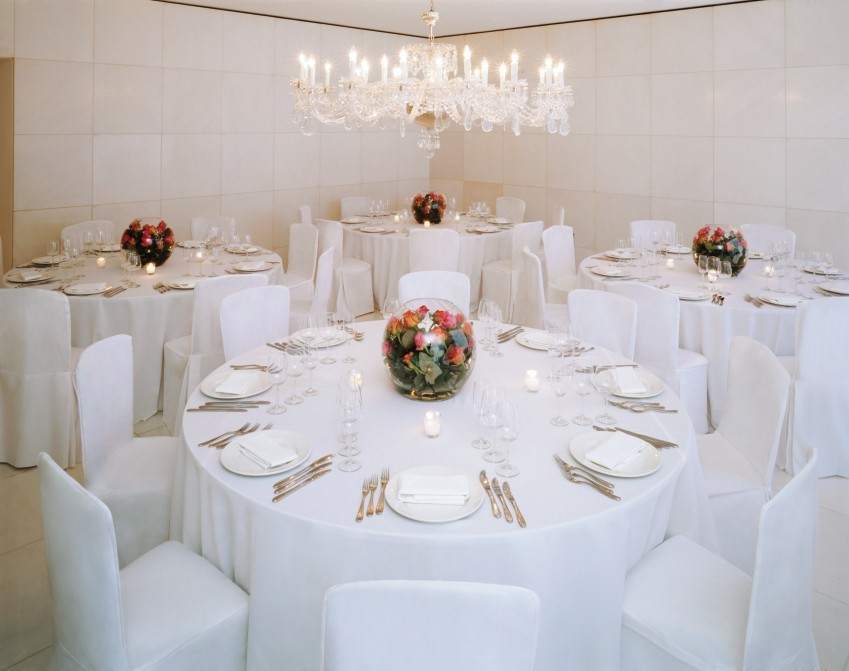 St Martins Lane Hotel Christmas Party WC2, private dining with white table cloths