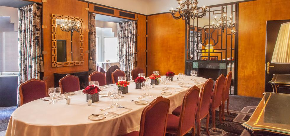Savoy Hotel Venue Hire WC2, private dining set up