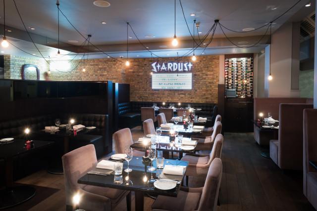 Restaurant table setting layout in Chez Mal Malmaison London Christmas Party EC1