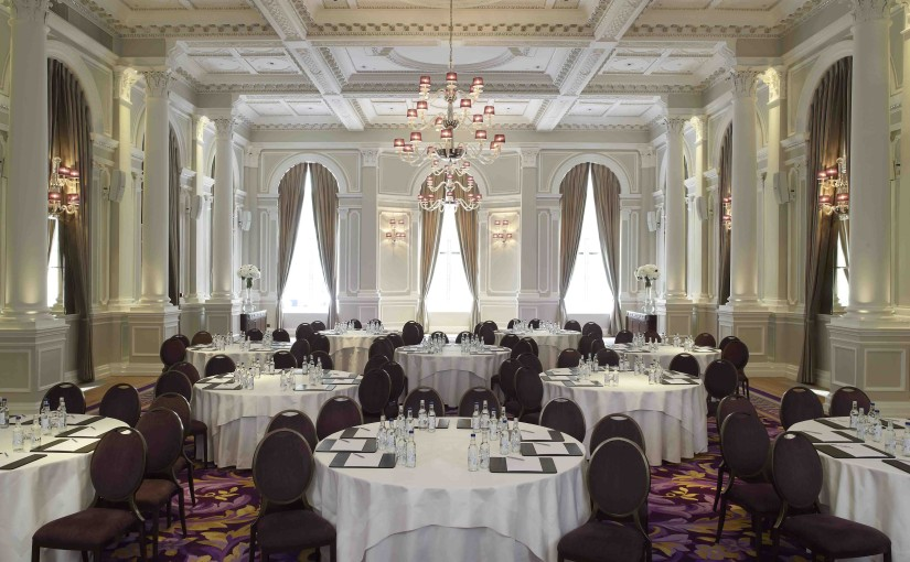 Ballroom in cabaret style for a conference with natural daylight and high ceilings Corinthia London Venue Hire SW1
