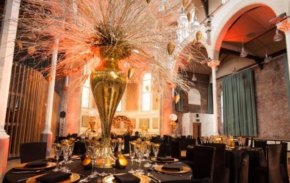round tables set up for dinner Hallé St. Peter's Venue Hire M4