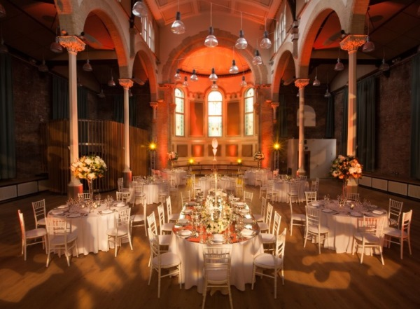 Round tables dressed for dinner Hallé St. Peter's Venue Hire M4