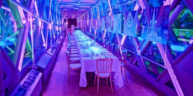 Tower Bridge Walkways Venue Hire London SE1. Summer receptions are bright and airy with phenomenal views across London