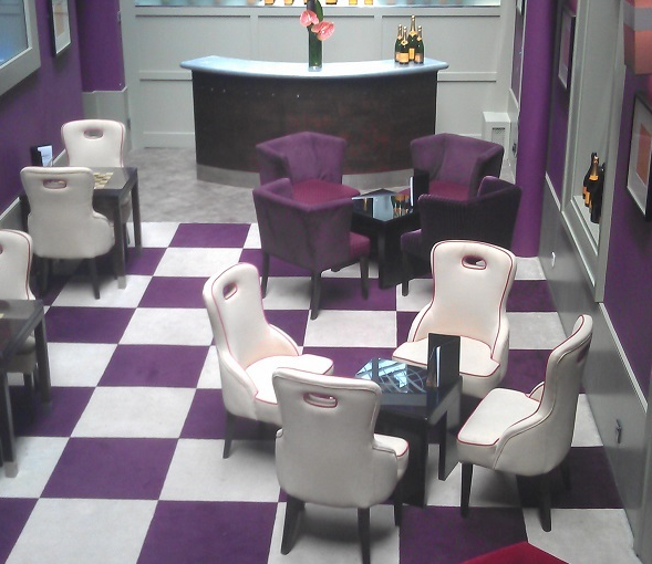 Malmaison Hotel Glasgow Venue Hire G2, reception with white and purple tiles and purple seating