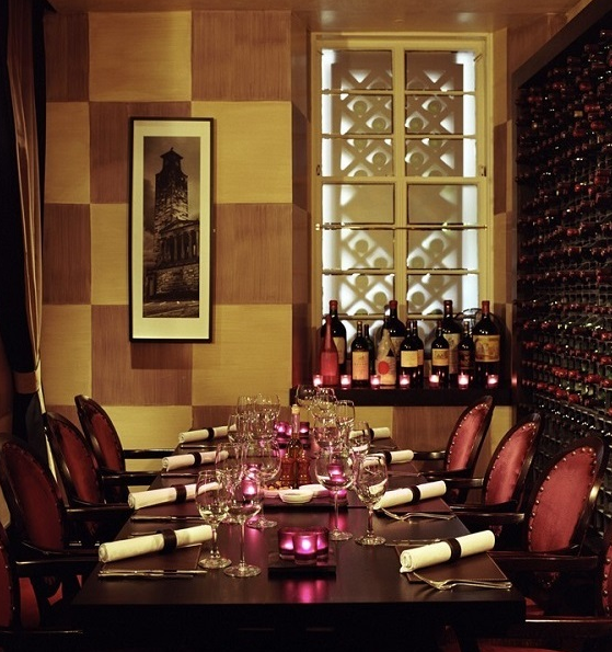 Malmaison Hotel Glasgow Venue Hire G2, private dining room with pink candles on a long table