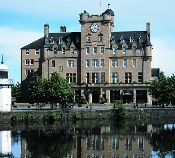 Malmaison Hotel Edinburgh Venue Hire EH6, large brick building with clock tower and river in front
