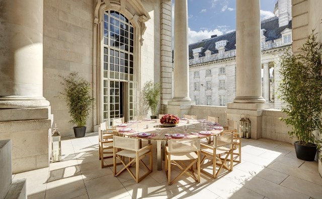 Hotel Café Royal Venue Hire W1 hotels patio with dining table set up