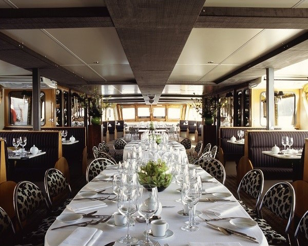 Silver Barracuda Christmas Party SE1. Inside of beautiful boat with glamrous design with contempary furnishings.