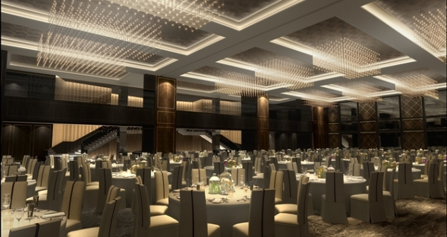 Hilton Bankside Venue Hire London SE1, main ball room set up for a large event