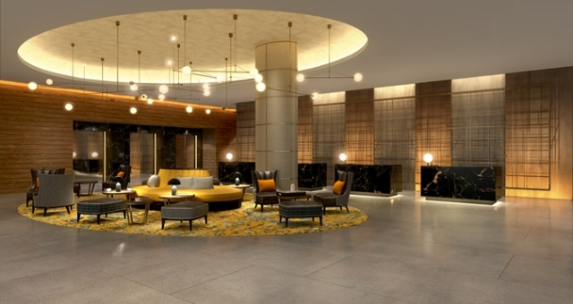 Hilton Bankside Venue Hire London SE1, lobby area with unique furnishings