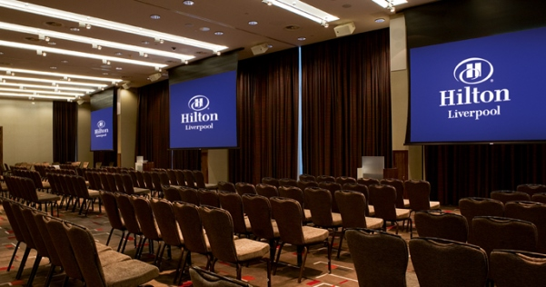 Hilton Liverpool Venue Hire L1, venue set up conference style with screens