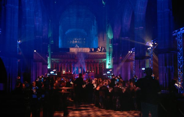 Tables dressed for gala dinner Manchester Cathedral Venue Hire M3
