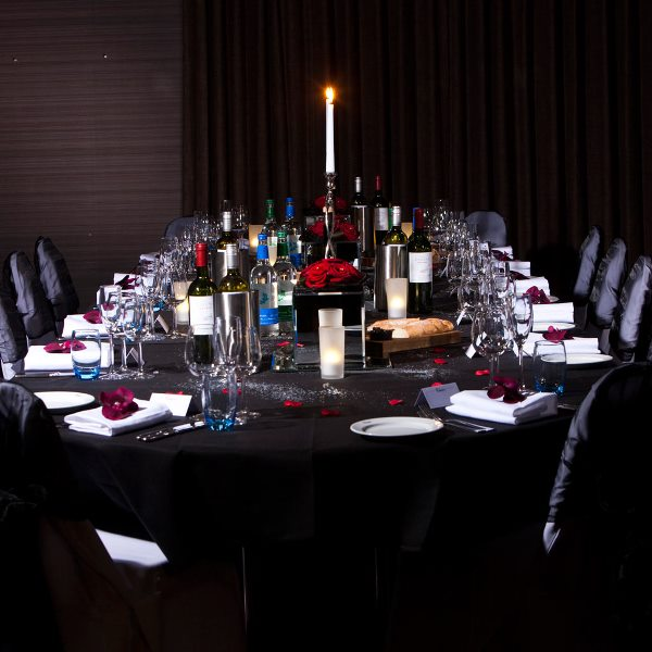 Malmaison Liverpool Venue Hire L3, long table for private dining with a candle
