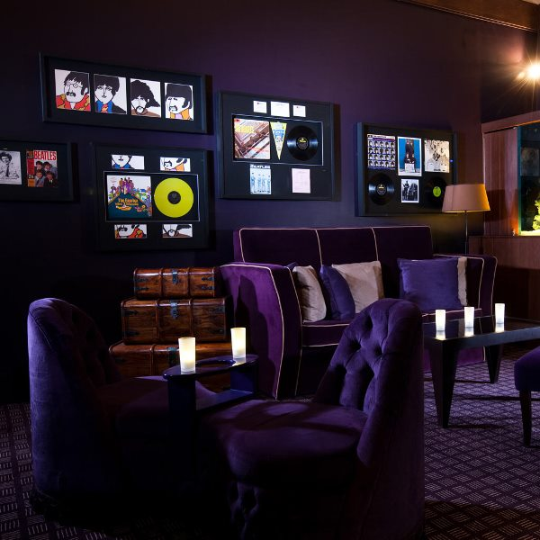 Malmaison Liverpool Venue Hire L3, reception area with unique decor and purple seating
