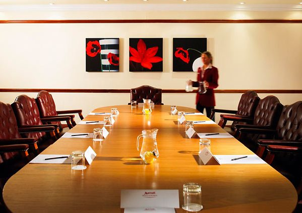 Liverpool City Centre Marriott Venue Hire L1, conference set up with long board room table