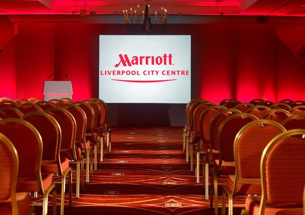 Liverpool City Centre Marriott Venue Hire L1 red seats set up theatre style with screen at front