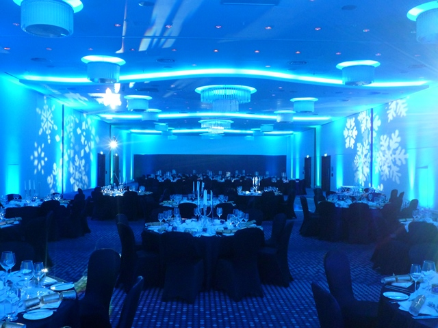Hilton Heathrow Terminal 5 Shared Christmas Party SL3, blue mood lighting in dining room