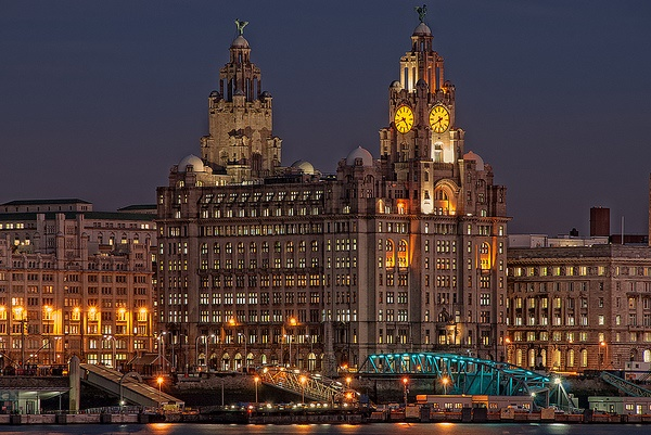 Royal Liver Building Christmas Party L3, iconic building lit up for evening events
