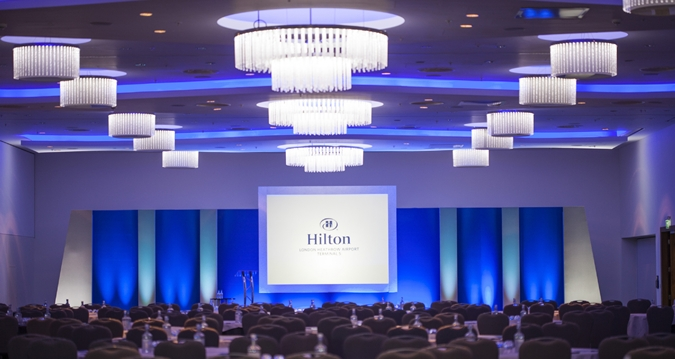 Hilton Heathrow Terminal 5 Venue Hire SL3, conference set up in grand ball room