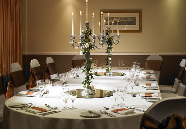 Marriott Hotel Portsmouth Venue Hire PO6, banqueting table with candle libras