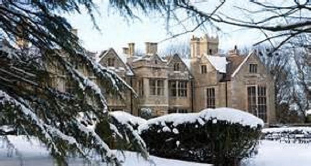 Redworth Hall Hotel Christmas Party DL5. Exterior of Venue with snow fallen. Christmas feel.
