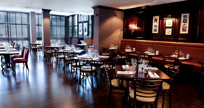 Hilton Bath Christmas Party BA1, restaurant with wooden furniture