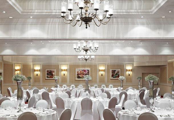 Sunderland Marriott Christmas Party SR6, venue set up for priavte dinner with white furnishings