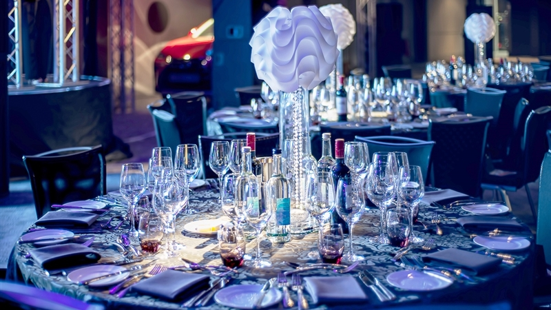 Titanic Hotel and Rum Warehouse Hotel Shared Christmas Party L3, table set up for dinner with center piece