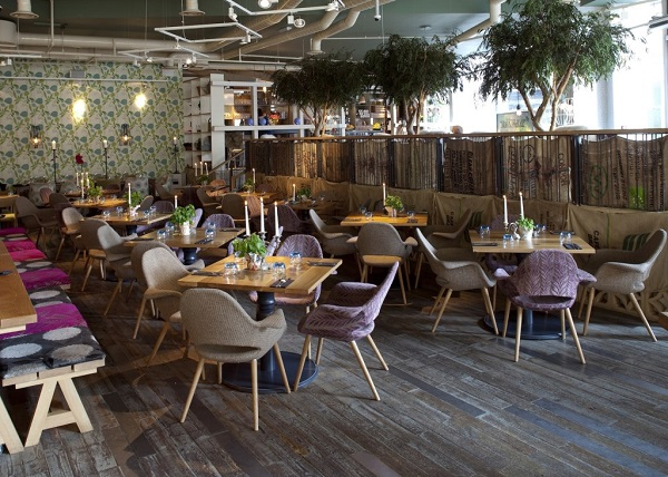 Folly Venue Hire London EC3. Contemporary furnishings with plants inside of venue to give it that romantic feel.