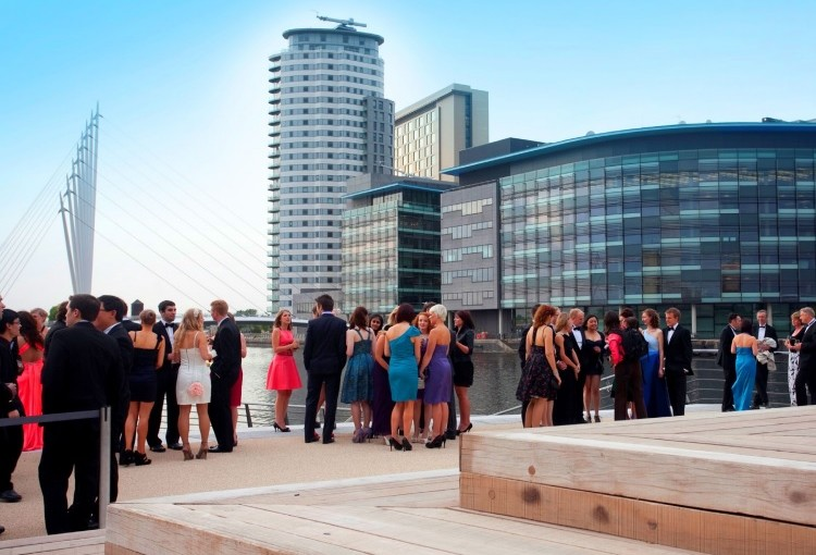 drinks reception on terrace with view of MediaCityUK
