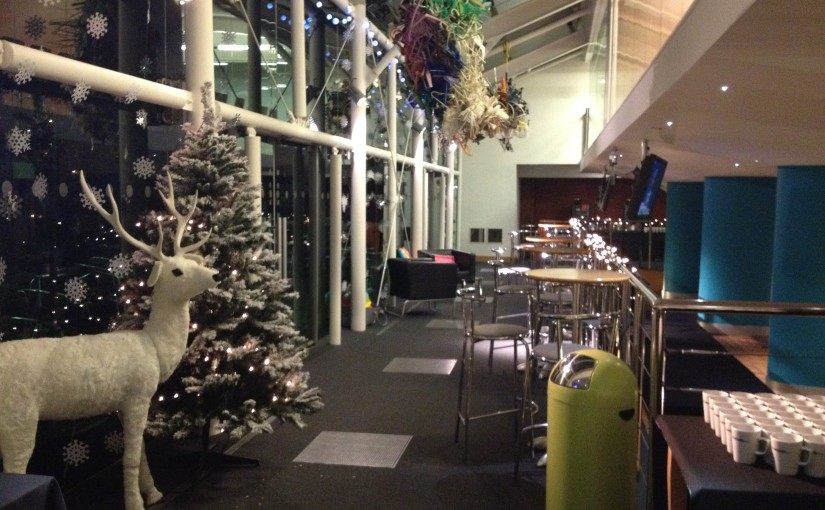 Studio Manchester Christmas Party M1, reindeer and themed event space for christmas