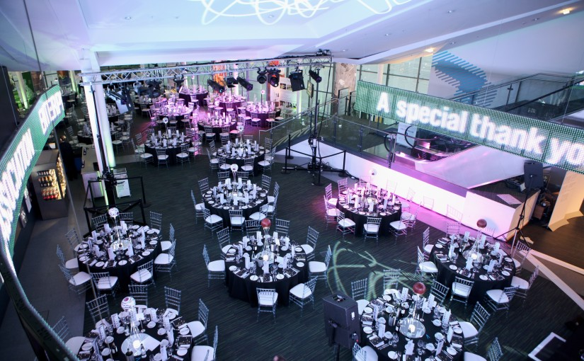 Hall of Fame round tables dressed for dinner National Football Museum Christmas Party M4