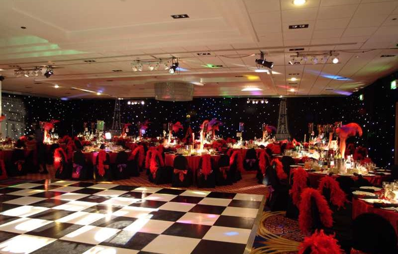 Medici Ballroom set up for a wedding with round tables dressed in black linen Renaissance Manchester Venue Hire M3