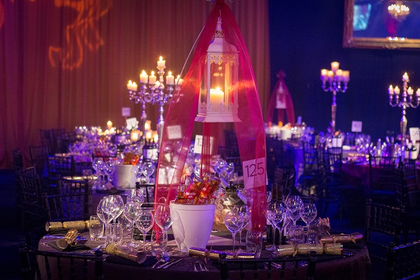 View of the table decoration with candelabras EventCity Christmas Party M41
