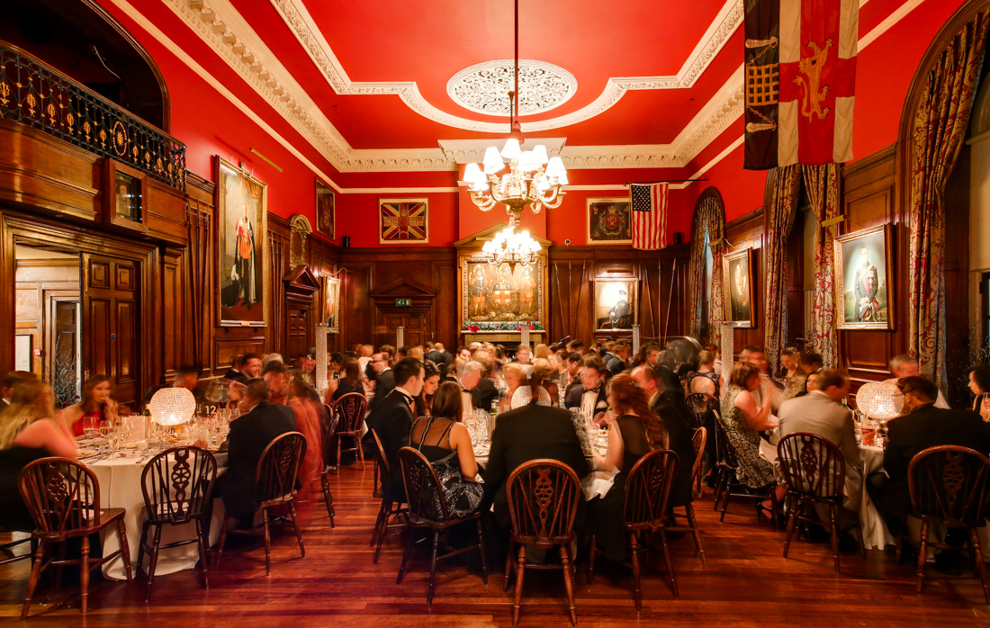 Long Room dressed for a party HAC Armoury House Christmas Party EC1