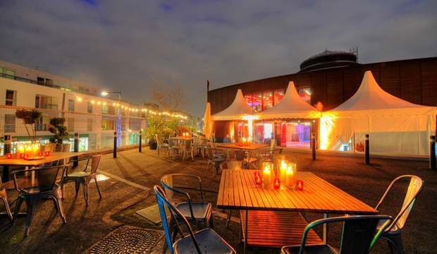 Roundhouse Summer Party Venue NW8 outside space with furnishings for guests to enjoy their summer party
