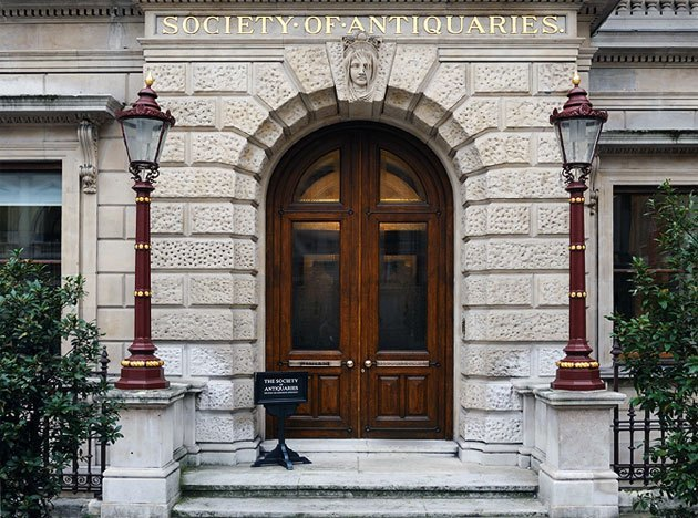Society of Antiquaries Christmas Party W1, front of building with brick walls and wooden door