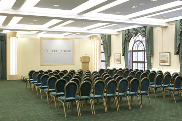 Church House Venue Hire SW1, theatre style seating, microphone stand