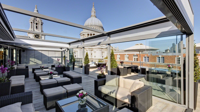 Sky Bar with direct views of St Pauls Cathedral set up for an informal summer event Grange St. Pauls Hotel Summer Party EC4