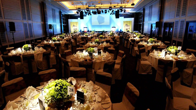 Wren Suite set up for an awards dinner with round tables dressed for dinner in cabaret style Grange St. Pauls Hotel Venue Hire EC4
