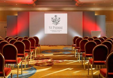 St Pierre Hotel Venue Hire NP16, conference room ,theatre style seating, large screen at the front