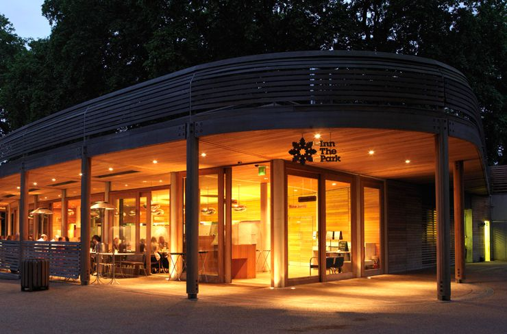 Inn The Park London Venue Hire SW1, outside of the wooden venue