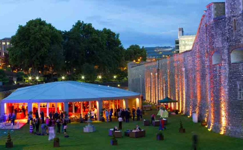 Pavilion at the Tower of London Summer Party EC3, outside space, marque set up, seating