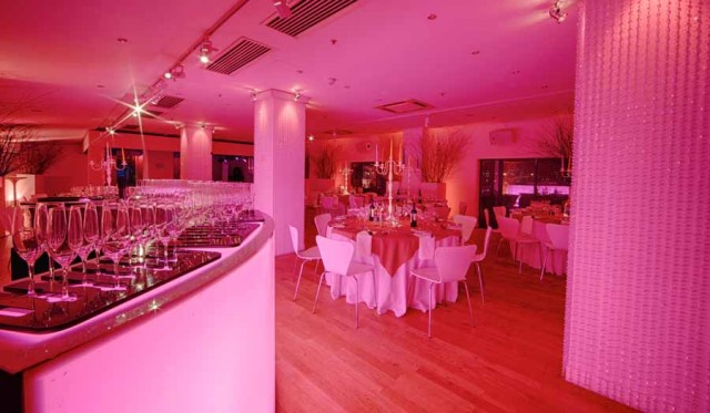 OXO2 Christmas Party SE1, odern interior, draping, arrival drinks