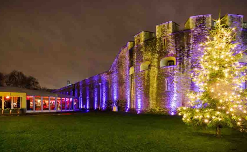 Pavilion at the Tower of London Shared Christmas Party EC3, exterior of the tower of london, lit up, mood lighting, large outdoor Christmas tree
