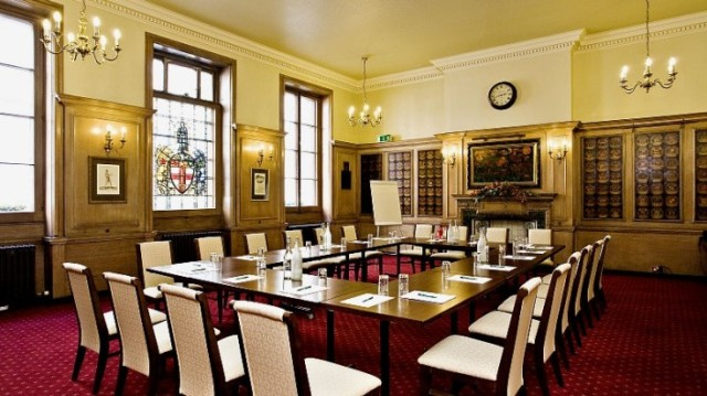 Six Clerks Room set up baordroom style with natural daylight Law Society Venue Hire WC2