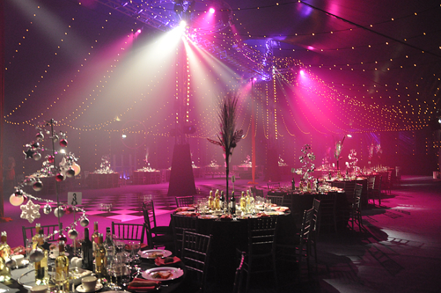 Bloomsbury Big Top Shared Christmas Party WC1, festive table decorations, dancefloor, lighting, ceiling draping