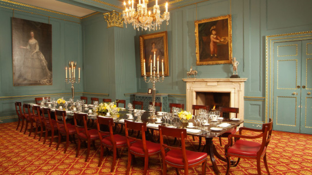 Astor Room boardroom style with place settings for a private dinner In and Out Club Venue Hire SW1
