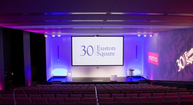 30 Euston Square Venue Hire NW1, auditorium, tiered seating, large screen and projector, colour wash